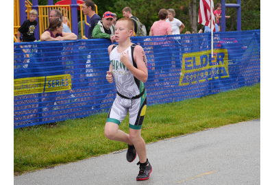 13-year-old Conner finishes the Copper Creek Triathlon after racing it solo