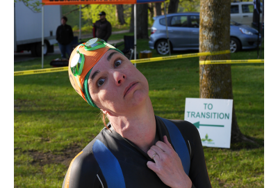 Katherine's borrowed wetsuit didn't fit very well at the Hickory Grove Aquabike.